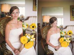 Sunflower bridal bouquet with teddy bear sunflowers.