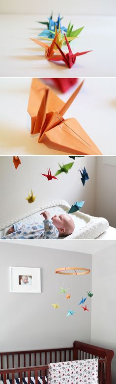 DIY paper crane mobile adds the perfect personal touch your nursery may be missing. #baby #nursery #mom