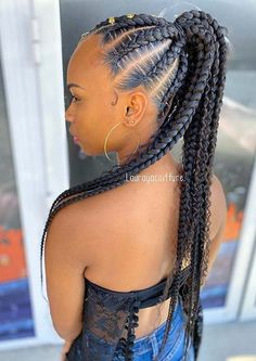 One of the most popular hairstyles for women is a braided ponytail. To give you some hair inspiration, we have found 23 dope feed in braids ponytail ideas. Box Braids Hairstyles, Black Girl Braided Hairstyles, Braided Ponytail Hairstyles, Girl Hairstyles, Popular Hairstyles, School Hairstyles, Hair Updo, Everyday Hairstyles, Wedding Hairstyles