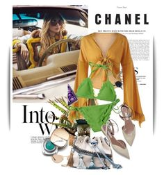 """""""Yellow blouse"""" by maja-k ❤ liked on Polyvore featuring Anja, Dolce&Gabbana, Vogue Eyewear, yellow, bag, swimsuit and blouse"""