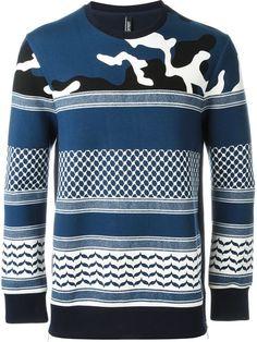NEIL BARRETT Patterned Camouflage Sweatshirt. #neilbarrett #cloth #sweatshirt