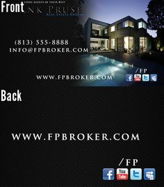 Frank Pruse, real estate broker business card Designed by Spectra Marketing Solutions.    Need business cards designed and printed? visit www.spectrams.com