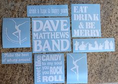 DMB Dave Matthews Band Decal Set of 8 stickers Vinyl by nockonwood, $27.00