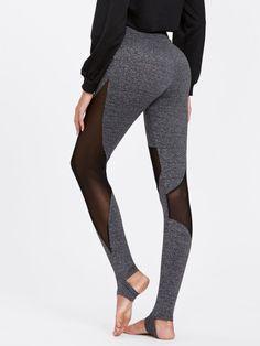 7589237d87a0b Mesh Insert Heathered Knit Stirrup LeggingsFor Women-romwe Yoga Fashion,  Fashion Outfits, Womens