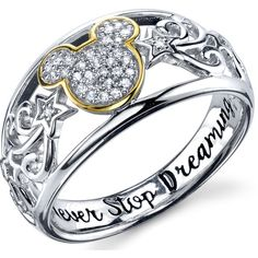 Disney Two Tone Sterling Silver 1/10 ctw Diamond Never Stop Dreaming... ($140) ❤ liked on Polyvore featuring jewelry, rings, diamond rings, sterling silver jewellery, two tone diamond ring, diamond jewelry and disney rings