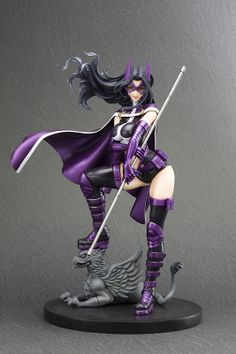 Another in Kotobukiya's lineup of bishoujo-esque DC Heroines, Huntress aka Helena Wayne––the daughter of the Bruce Wayne and Selina Kyle of Earth-2––is imaginatively re-imagined by well-respected artist Shunya Yamashita in this well-crafted figure. As an alternate universe character, her history is a little complicated and was recently rewritten once again in The New 52. Foot atop a stone dragon, ...