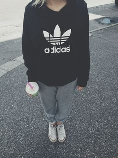 perfect outfit - converse, sweatpants & adidas originals hoodie/// this is MY kinda Pinterest outfit :)