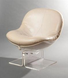 BorisTabacoff; Lucite and Leather 'Sphere' Lounge Chair, 1971.