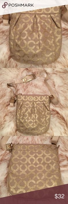 Coach Crossbody Coach crossbody gold accents, shimmery gold signature on tan fabric background, outside pocket. Adjustable strap with added comfort for your shoulder. Great condition! Coach Bags Crossbody Bags
