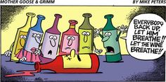 Wine Funnies - Breathe! #cartoon (Wine Bottle Illustration) (Wine rescue)