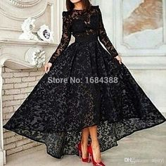 Cheap dresses and evening gowns, Buy Quality gown evening dress directly from China dress like a boy Suppliers: 2015 Black Long Elegant Prom Evening Dress O Neck Long Sleeve Lace Hi Lo Party Gown Special Occasion Dresses Evening Go