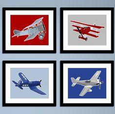 Boys airplane nursery art  vintage airplanes by PaperLlamas, $40.00    Custom for the baby's room