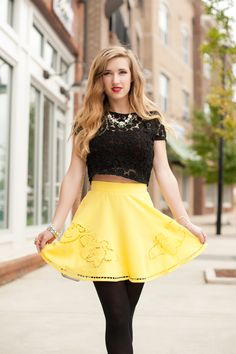 Yellow Skater Skirt #swoonboutique