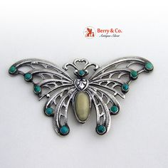 Large Butterfly Brooch Pin Sterling Silver Turquoise by BerrysGems