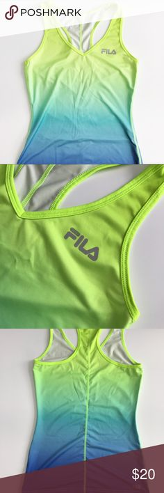 Ombré Workout Tank Super cute blue to green ombre workout tank. Worn a handful of times. Super flattering fitted design with v-neck style. NO TRADES. Fila Tops Tank Tops