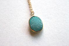 Sparkling Teal Green Druzy Necklace $45
