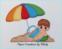 Sand Beach Boy summer premade paper piecing scrapbooking page album border