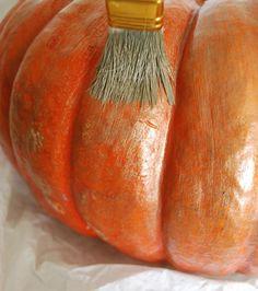 dry brush glaze for pumpkins on porch