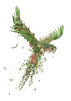 An A2 Giclle print made entirely from vintage floral wallpaper patterns. Hand glossed, limited edition & signed. #werealljustbeautifulpigeons #parrotart #floralart #jungleart