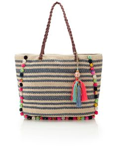 Cara Pom Pom Striped Tote - a cotton beach bag we MUST have. #unique