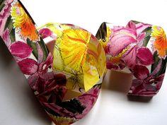 Orchid Floral Cotton Ribbon Trim Multicolor by PrimroseLaceRibbon, $3.00