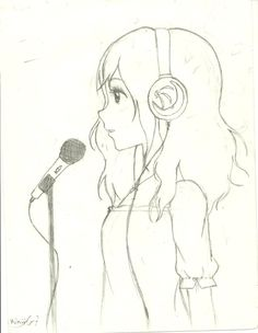 Anime girl singing by on DeviantArt Music Drawings, Dark Art Drawings, Girly Drawings, Art Drawings Sketches Simple, Pencil Art Drawings, Art Drawings Beautiful, Sketch Painting, Paintings, Google Search