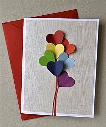 Kartka Walentynki - baloniki serduszkowe.