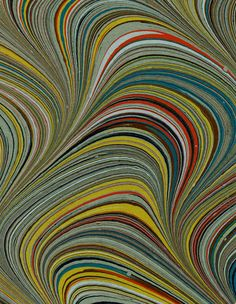 Modern 20th c. marbled paper, Serpentine pattern