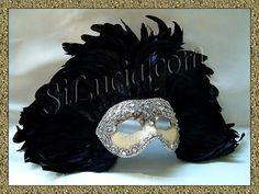 America Silver Macramé Crackle Black Feathers