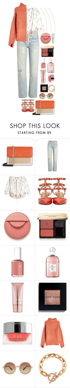 """Coral + Floral"" by cherieaustin on Polyvore featuring DKNY, RE/DONE, Marques'Almeida, Valentino, Mulberry, Guerlain, Essie, Lancer Dermatology, Bobbi Brown Cosmetics and By Terry"