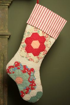 Grandmother's Flower Garden Vintage Quilt Christmas Stocking with Ticking Cuff
