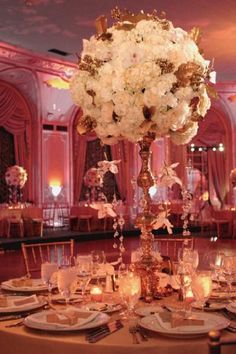 Beautiful tablescape, tall white centerpiece for wedding, elegant wedding