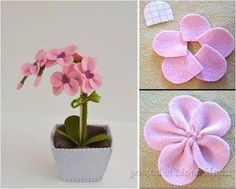 Rainbow's Crafts and Creations: How to Make Simple Felt Flowers Fake Flowers, Diy Flowers, Fabric Flowers, Felt Crafts, Diy And Crafts, Felt Doll Patterns, Felt Flower Bouquet, Felt Flower Tutorial, Diy Y Manualidades