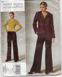 b8bfb204471 Anne Klein Semi Fitted Fully Interfaced Lined Jacket Loose Fitting Slightly  Flared Pants Size 8 10