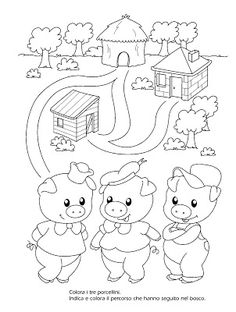 La maestra Linda: Amici di fiabe da colorare Preschool Themes, Nursery Rhymes Preschool, Preschool Writing, Preschool Activities, Pig Drawing, Drawing For Kids, Embroidery Art, Embroidery Patterns, Cute Powerpoint Templates