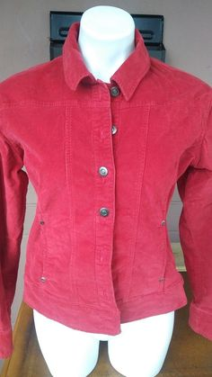 Womens juniors Jeans Red Corduroy Jacket size med great fit see 📷 euc #notknown #JeanJacket #Casual