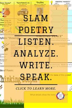 Something for everyone who is interested in teaching spoken word poetry (slam poetry). Teach students to appreciate, analyze, write, and perform their own slam poetry. https://www.teacherspayteachers.com/Product/Slam-Poetry-MEGA-Bundle-for-Google-Classroom-OneDrive-and-Print-3043884 #teachingstrategies #elaclassroom #classroomtechnology #elateachingstrategies #teachingpoetry #slampoetry