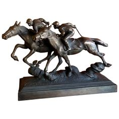 Wonderful bronze sculpture of two thoroughbred horses racing with jockeys aboard by Paul Herzel, circa Great detail and patina! Horse Sculpture, Animal Sculptures, Bronze Sculpture, American Animals, Thoroughbred Horse, Racehorse, Horse Racing, Book Art, Horses