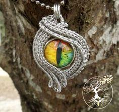 Stunning Rainbow Dragon Eye into the soul wire pendant by TheSleepyFirefly