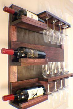 Wine Glass Rack, Wood Wine Racks, Wine Rack Wall, Wine Rack Design, Pallet Wine, Wood Shop Projects, Home Bar Designs, Creation Deco, Wine Decor