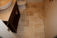 Bathroom, travertine tile, French pattern