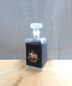 Vintage decanter from France with sail ship black leather cover barware breweriana from 1970s whiskey brandy wine liquor liqueurs   (X) by IrishBarnVintage on Etsy