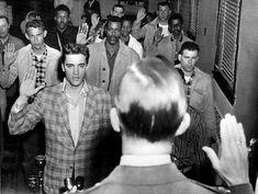 Elvis Presley being sworn into his compulsory army service. Arkansas, 1958