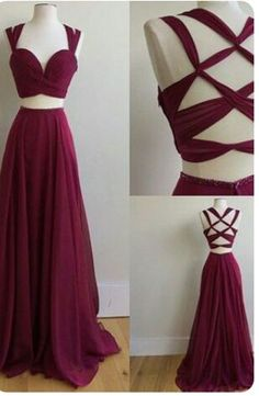 Two Piece Square Sweep Train Criss-Cross Straps Burgundy Chiffon Prom Dress prom dresses 2017 2 pieces maroon prom party dresses. Straps Prom Dresses, Prom Dresses 2017, A Line Prom Dresses, Prom Party Dresses, Party Dresses For Women, Pageant Dresses, Party Gowns, Sexy Dresses, Dress Prom