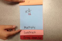 Long Division Flip Books-good idea for the steps of certain math strategies- A similar foldable was used in a classroom I have been in the past several weeks- This would be a great addition