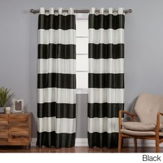 Aurora Home Faux Silk Rugby Stripe Blackout 84-inch Panel Pair Curtain (Black 84L), Size 52 x 84 (Polyester, Moroccan)