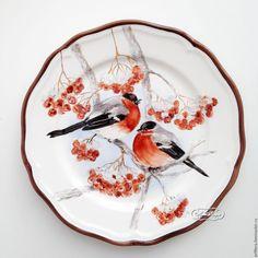 Купить Роспись фарфора Тарелка Снегири - роспись фарфора, роспись по фарфору…