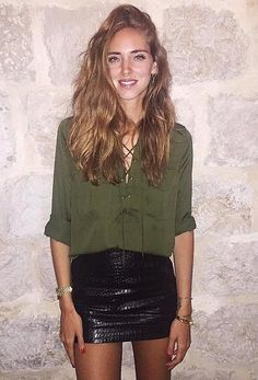 Party-Ready With a Lace-Up Top and a Leather Skirt