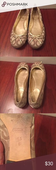 Used Gold Coach ballerina flats. size 6.5 Used gold ballerina COACH flats. Coach Shoes Flats & Loafers