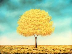 Golden Tree Art Print of Yellow Tree Painting, Whimsical Tree Artwork, Modern Blue and Yellow Wall Art, Autumn Gold Tree Print of Landscape Contemporary Abstract Art, Modern Wall Art, Golden Tree, Yellow Wall Art, Yellow Tree, Tree Artwork, Rustic Art, Modern Rustic, Rainbow Art